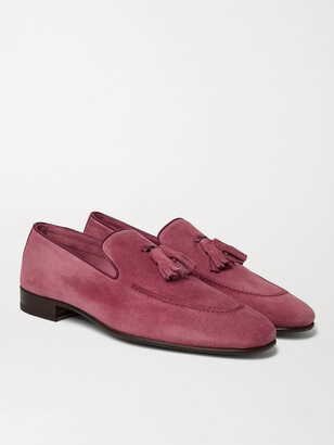 Manolo Blahnik Chester Leather-Trimmed Suede Tasselled Loafers