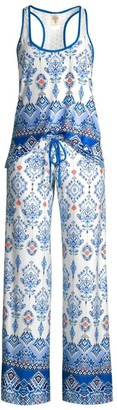 In Bloom 2-Piece Border Print Camisole & Pant Pajama Set