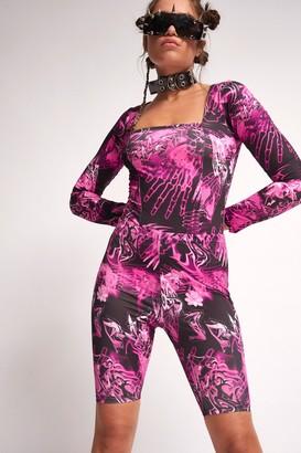 Jaded London Womens **Pink Skull Print Cycling Shorts By Pink