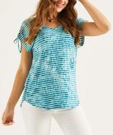 Suzanne Betro Weekend Women's Tunics 101AQUA - Aqua Stripe Drawstring Sleeve Tunic - Women & Plus