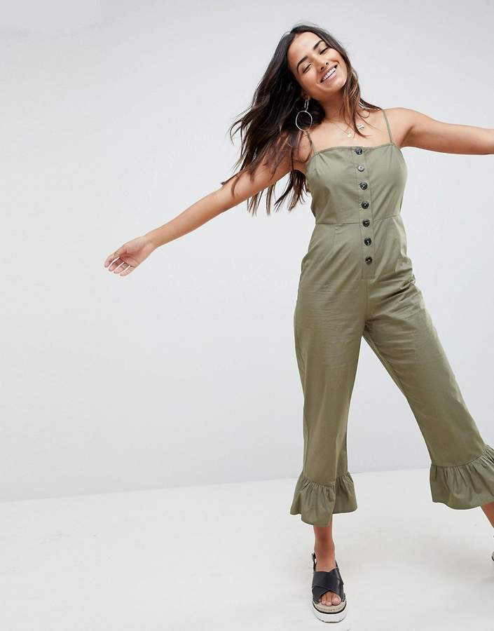 Asos Design DESIGN cotton frill hem jumpsuit with square neck and button detail