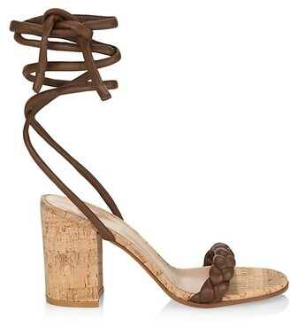 Gianvito Rossi Braided Ankle-Wrap Leather Cork Heel Sandals