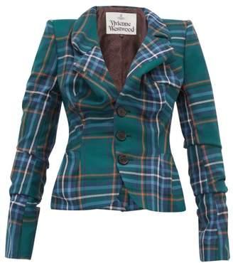 Vivienne Westwood Tartan Single-breasted Ruched-wool Jacket - Womens - Green Multi