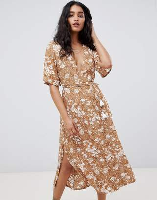 Faithfull The Brand Faithfull rivera midi dress-Brown