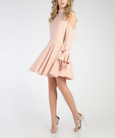 Grazia Light Pink Ruffle Cold-Shoulder Midi Dress