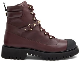 Valentino Rockstud Lace-up Leather Boots - Burgundy