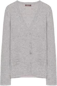 10per3 - Light Gray Mottled Cashmere V Neck Cardigan - cashmere | light gray | s