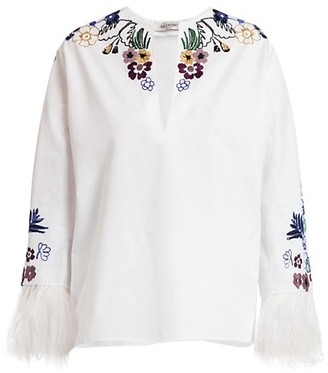 Valentino Tapestry Feather-Trimmed Embroidered Cotton Peasant Blouse