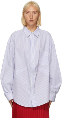 Balenciaga Blue and White Stripe Swing Shirt