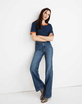 """Madewell 11"""" High-Rise Flare Jeans in Mersey Wash: Welt Pocket Edition"""