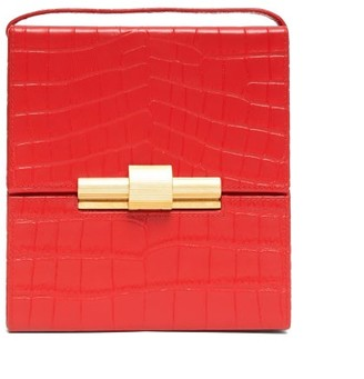 Bottega Veneta Daisey Crocodile-effect Leather Cross-body Bag - Womens - Red