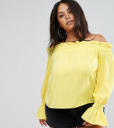Missguided Plus Bardot Frill Sheered Blouse