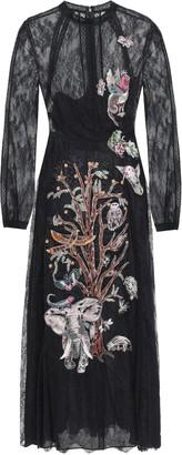 Valentino Point D'esprit-paneled Embroidered Silk-lace Midi Dress