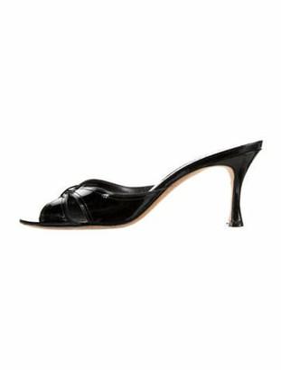 Manolo Blahnik Patent Leather Printed Slides Black