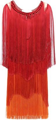 Alberta Ferretti Fringed Paneled Color-block Chiffon And Tulle Dress