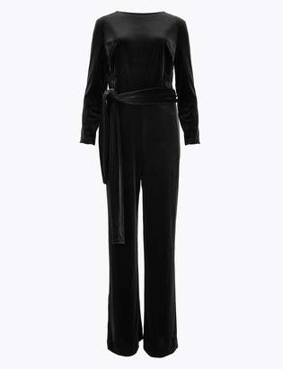 M&S CollectionMarks and Spencer Velvet Belted Jumpsuit