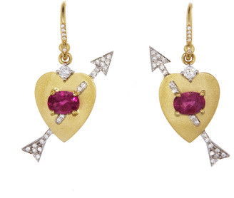 Irene Neuwirth Pink Tourmaline and Diamond Pave True Love Drop Earrings
