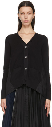 Sacai Black Pleated Back Cardigan