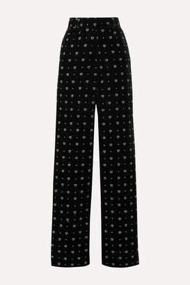 Paul & Joe Glittered Velvet Straight-leg Pants - Black
