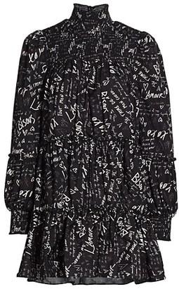Cinq à Sept Rika Love Note Taffeta Mini Dress