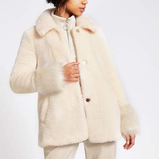 River Island Womens Cream faux fur long sleeve coat
