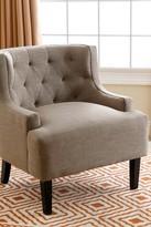 Caroline Dark Beige Tufted Fabric Armchair