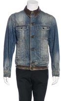 Dolce & Gabbana Leather-Trimmed Distressed Jacket