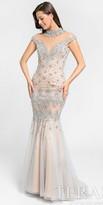 Terani Couture Illusion High Collar Rhinestone Mermaid Prom Dress