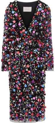 Carolina Herrera Sequin-embellished Tulle Wrap Dress