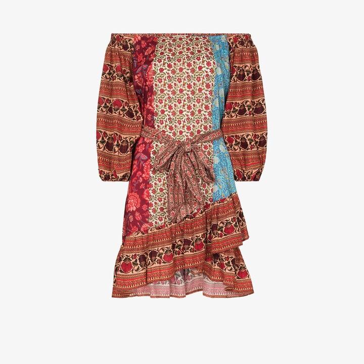 BOTEH Darya off-the-shoulder patchwork dress