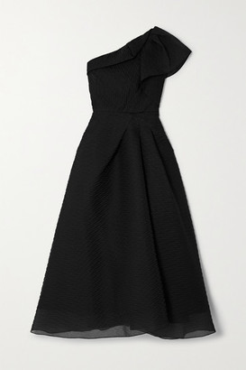 Roland Mouret Ostuni One-shoulder Silk-blend Organza-jacquard Midi Dress - Black