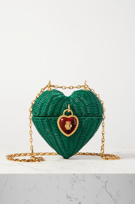 Dolce & Gabbana Heart Box Embellished Rattan And Patent-leather Shoulder Bag - Green