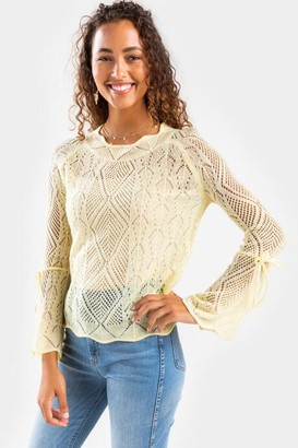 francesca's Nola Bell Tie Sleeve Sweater - Pink
