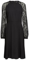 Dorothy Perkins Womens Black Lace Sleeve Fit And Flare Dress, Black