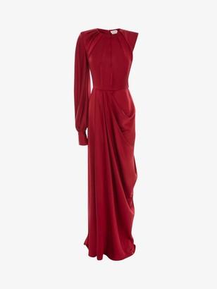 Alexander McQueen One-Sleeve Satin Evening Dress