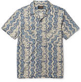 Beams Camp-collar Printed Cotton Shirt - Storm blue