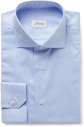 Brioni Cutaway-Collar Herringbone Cotton Shirt