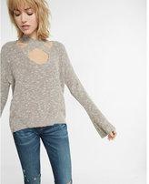 Express flare sleeve crisscross choker sweater