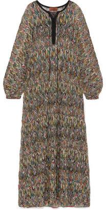 Missoni Mare Lace-up Crochet-knit Kaftan - Black
