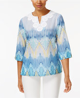Alfred Dunner Petite Cotton Printed Biadere Top
