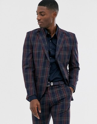 Selected slim suit jacket in navy red check