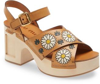 Miu Miu Flower Ankle Strap Platform Clog Sandal