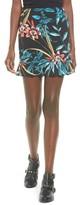 Band of Gypsies Women's Tropical Print Ruffle Hem Skirt