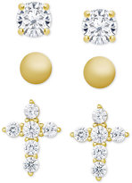 Macy's 3-Pc. Set Crystal Stud Earrings in 18k Gold-Plated Sterling Silver