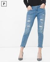 White House Black Market Petite Destructed Chain Girlfriend Jeans