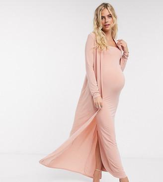 Club L Maternity Club L London Maternity slinky maxi jacket two-piece in pink