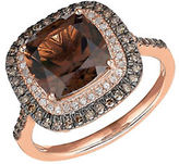 Lord & Taylor Smoky Quartz, White and Brown Diamond 14K Rose Gold Ring