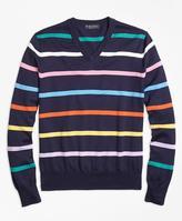 Brooks Brothers Supima® Cotton Multi Stripe V-Neck Sweater