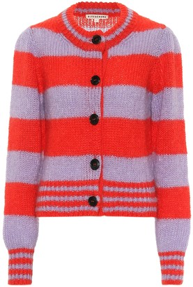 ALEXACHUNG Styrene striped mohair-blend cardigan