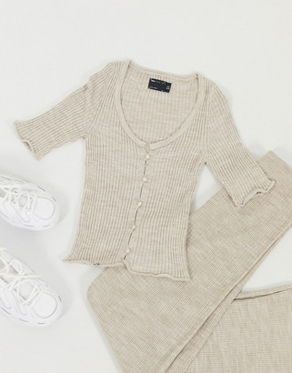 ASOS DESIGN two-piece rib cardigan with short sleeve in oatmeal